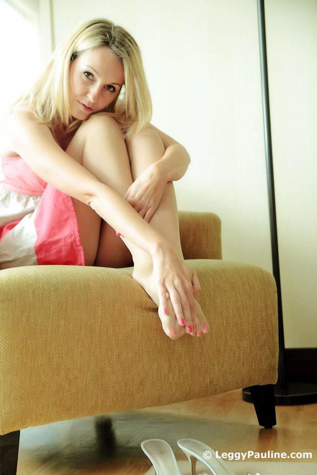 Blonde womens feet and legs in sexy sheer pantyhose Sexy Feet Nylon Feet Leggypauline Com