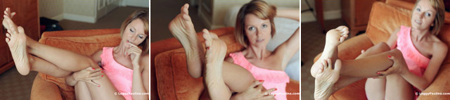 Bare soles POV and toe spreads